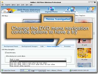 screenshot of how to change the DVD menu navigation controls options to have a try.