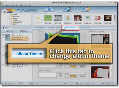 screenshot of how to change the album theme in slideshow