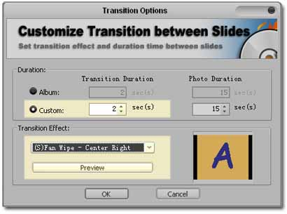screenshot of how to select custom transition effects for each photo