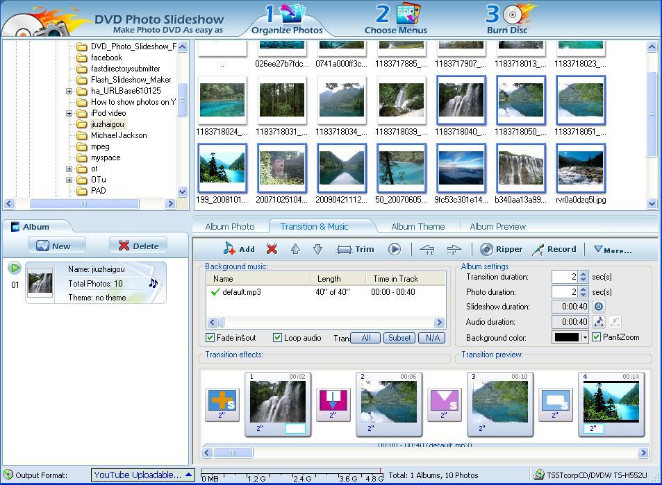 Create PowerPoint photo album music slideshow for PPT